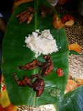 Lunch on the Banana Leaf royalty free stock photos