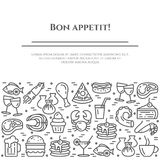 Meals theme black and white banner. Pictograms of steak, fish, pie, wine, shrimp, pizza and other restaurant food. Related pictograms. Line out. Simple Stock Photos