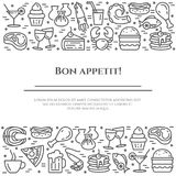Meals theme black and white banner. Pictograms of steak, fish, pie, wine, shrimp, pizza and other restaurant food. Related pictograms. Line out. Simple Royalty Free Stock Image