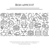 Meals theme black and white banner. Pictograms of steak, fish, pie, wine, shrimp, pizza and other restaurant food. Related pictograms. Line out. Simple Royalty Free Stock Images