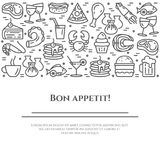 Meals theme horizontal banner. Pictograms of pie, steak, fish, tea, wine, shrimp, pizza and other restaurant food related pictogra. Ms. Line out. Simple Royalty Free Stock Photo
