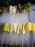 Meals and vegetables grilled with  Sichuan pepper were famously. Seasoning of  Xishuangbanna that famous Street foods in Norths of Thailand Stock Photos