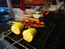Meals and vegetables grilled with  Sichuan pepper were famously. Seasoning of  Xishuangbanna that famous Street foods in Norths of Thailand Royalty Free Stock Image