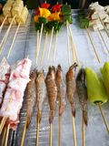 Meals and vegetables grilled with  Sichuan pepper were famously. Seasoning of  Xishuangbanna that famous Street foods in Norths of Thailand Royalty Free Stock Photography