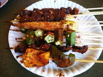 Meals and vegetables grilled with  Sichuan pepper were famously. Seasoning of  Xishuangbanna that famous Street foods in Norths of Thailand Stock Photo