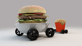 Meals on Wheels. Burger and Frites on Wheels Stock Image