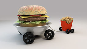 Meals on Wheels 2. Burger and Frites on Wheels royalty free illustration