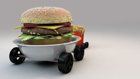Meals on Wheels 3. Burger and Frites on Wheels Stock Image