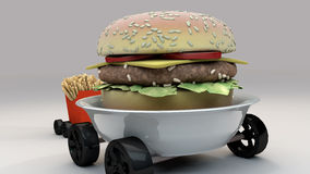 Meals on Wheels 4. Burger and Frites on Wheels royalty free illustration