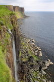 Mealt falls and Kilt Rock in Trotternish Peninsula, Isle of Skye, Highlands, Scotland, UK Royalty Free Stock Photos