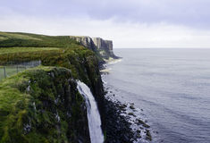 Mealt waterfall and Kilt Rock Stock Photography