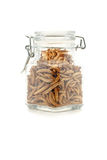 Mealworms in jar Stock Image