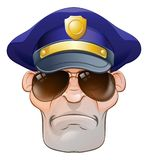 Mean Angry Cartoon Police Man Cop in Shades Stock Photos