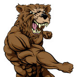 Mean bear sports mascot punching. A mean looking bear sports mascot fighting and punching with fist Stock Photo