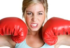 Mean Boxing Woman. Beautiful isolated mean boxing woman Royalty Free Stock Photo