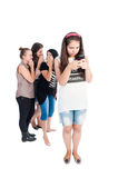 Mean and bullying girls full body Stock Photography