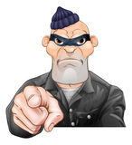 Mean Burglar Thief Pointing. A threatening mean looking cartoon burglar or thief criminal, thug, bully or goon pointing Stock Photos
