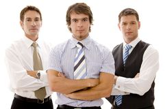 Mean Business. Three serious businessmen on white background Stock Photo