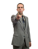 Mean Businessman. A mean businessman is pointing towards the front Royalty Free Stock Photos