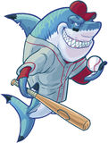 Mean Cartoon Baseball Shark with Bat and Ball. Vector cartoon clip art illustration of a tough mean smiling shark mascot wearing a baseball shirt and hat while stock illustration