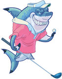 Mean Cartoon Golf Shark with Driver and Ball. Vector cartoon clip art illustration of a tough mean smiling shark mascot wearing a golf shirt and visor while royalty free illustration