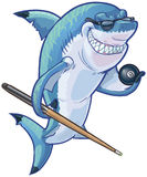 Mean Cartoon Pool Shark with Cue and Eight Ball. Vector cartoon clip art illustration of a tough mean smiling shark mascot wearing sunglasses and holding an Stock Photography