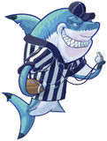 Mean Cartoon Referee Shark with Football and Whistle. Vector cartoon clip art illustration of a tough mean smiling shark mascot wearing a referee shirt and hat stock illustration