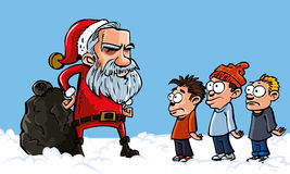 Mean Cartoon Santa with a white beard Stock Photos