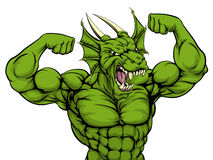 Mean Dragon Mascot. Cartoon tough mean strong green dragon sports mascot showing his bicept arm muscles Royalty Free Stock Photo