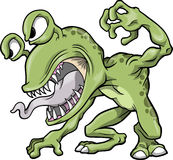 Mean Green Monster Vector. Illustration Royalty Free Stock Image
