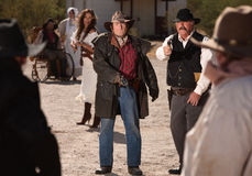 Mean Gunfighters in Shoot Out Royalty Free Stock Photos