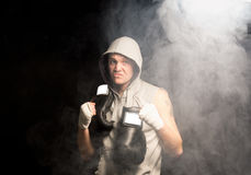 Mean looking boxer psyching himself up Stock Photography