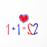 1+1=2 it mean love. On isolated background Royalty Free Stock Photo