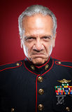 Mean Marine. Mean looking retired Marine in uniform Royalty Free Stock Image