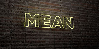 MEAN -Realistic Neon Sign on Brick Wall background - 3D rendered royalty free stock image. Can be used for online banner ads and direct mailers Stock Photography