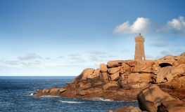 Mean ruz lighthouse in northern brittany Royalty Free Stock Images