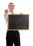 Mean Teacher. A mean teacher is laughing at his students because they have to go back to school Stock Photography