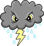 Mean Thunder Cloud Vector. Illustration Royalty Free Stock Photo