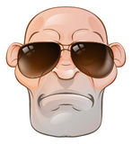 Mean Tough Cartoon Man. A rather mean looking tough skinhead thug or hard man wearing sunglasses Stock Photos