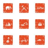 Mean of transportation icons set, grunge style. Mean of transportation icons set. Grunge set of 9 mean of transportation vector icons for web isolated on white Royalty Free Stock Images
