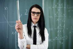 Mean young teacher Stock Photo