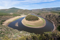 Meander of the Alagón River in Las Hurdes Royalty Free Stock Photo