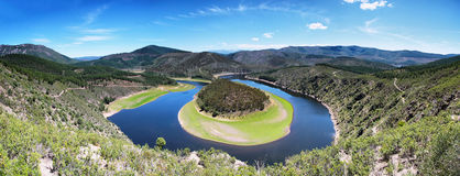 Meander of the Alagon River Known as Melero meander Stock Image