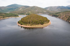 Meander of the Alagon River (Spain) Royalty Free Stock Image