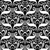 Meander floral seamless pattern. Vector black and white geometri. C background with hand drawn flowers, leaves, dots, greek key ornaments. Isolated template Royalty Free Stock Images