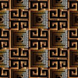 Meander greek key 3d seamless pattern. Black and gold patterned. Modern  background. Geometric abstract decorative ornaments . Luxury surface  design with Stock Photos