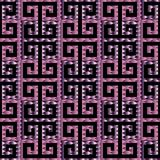Meander greek key 3d seamless pattern. Black and violet patterne. D modern  background. Geometric abstract decorative ornaments. Luxury surface  design for Stock Photos