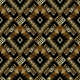 Meander greek key vector 3d seamless pattern. Geometric abstract. Modern black background wallpaper with gold ornate tracery, rhombus, zigzag, meanders, shapes Royalty Free Stock Image