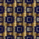 Meander greek key vector 3d seamless pattern. Geometric abstract. Modern blue background wallpaper with gold ornate tracery, zigzag, meanders, shapes, frames stock illustration