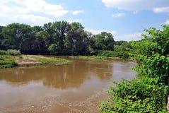 Meander of Odra river on czech-polish boundaries near Bohumin city Stock Image
